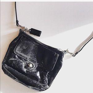 Coach poppy black patent messenger bag